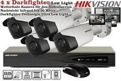 Innen & Außen Profi Set Darkfighter Ultra Low Light 4x 4K 50 Meter Nachtsicht Motorzoom Internet iPhone Android Haus und Firmenüberwachung